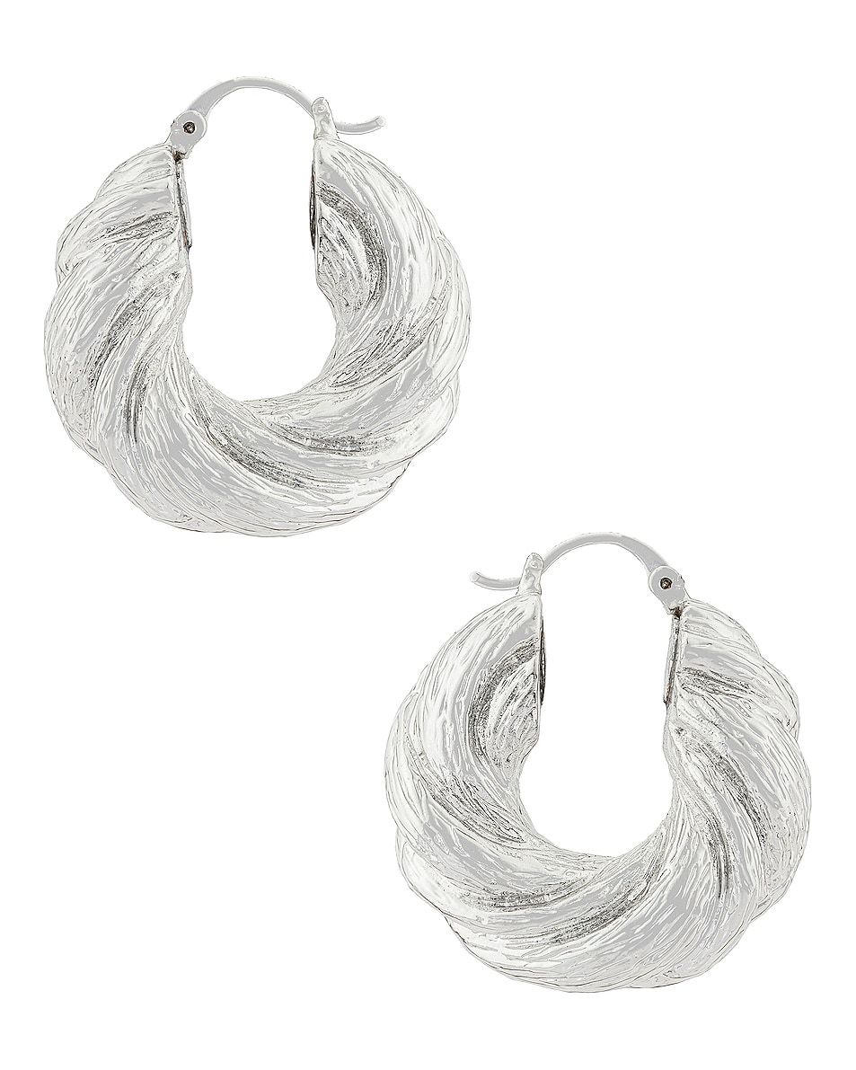 Image 1 of REJINA PYO Twist Hoop Earrings in Silver Plated