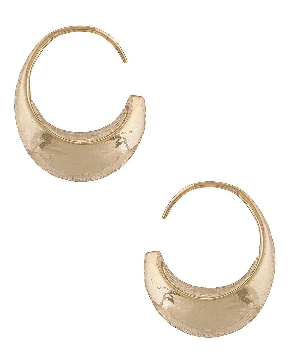 Image 1 of REJINA PYO Moon Hoop Earrings in Gold Plated