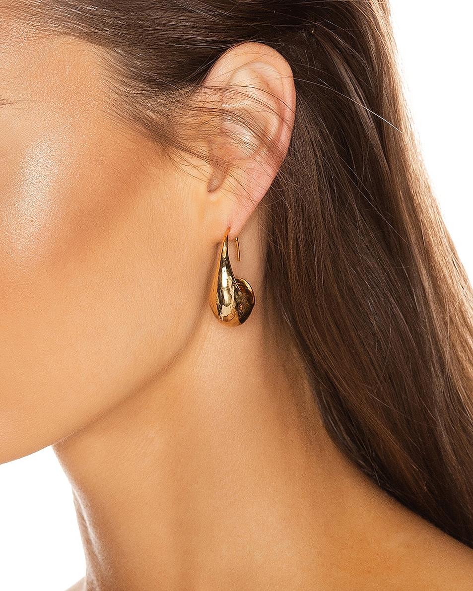 Image 2 of REJINA PYO Moon Hoop Earrings in Gold Plated