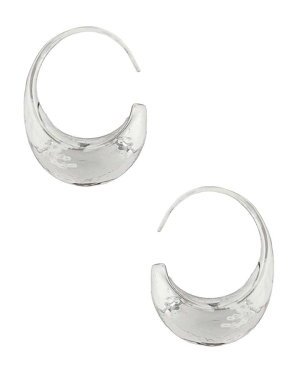 Image 1 of REJINA PYO Moon Hoop Earrings in Silver Plated