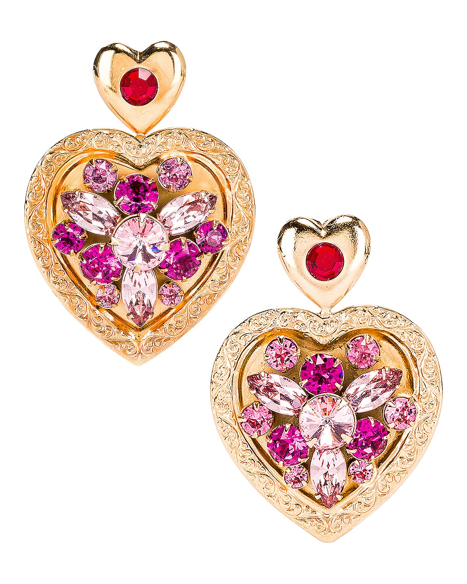 Image 1 of Rodarte Swarovski Crystal Heart Earrings in Gold & Pink
