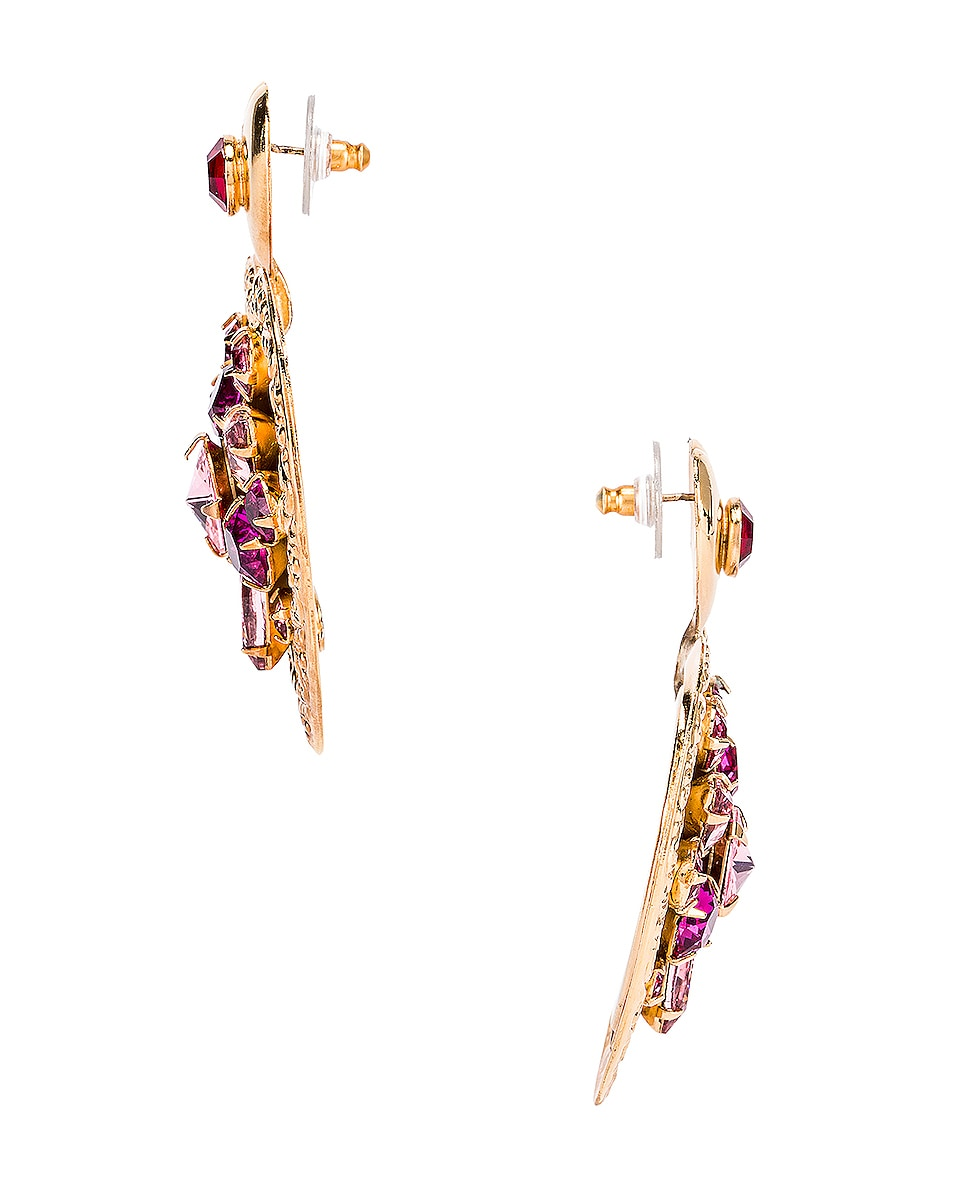 Image 3 of Rodarte Swarovski Crystal Heart Earrings in Gold & Pink