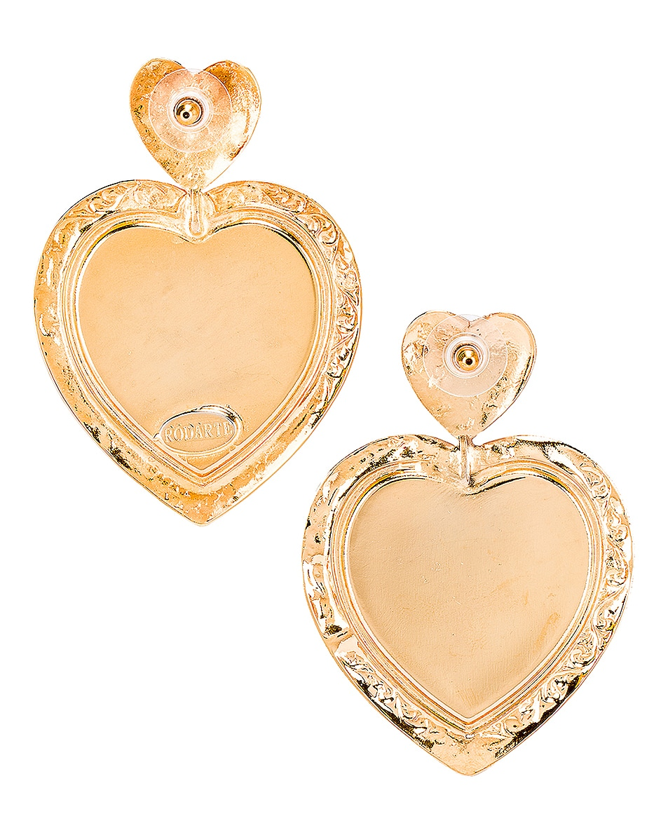 Image 4 of Rodarte Swarovski Crystal Heart Earrings in Gold & Pink