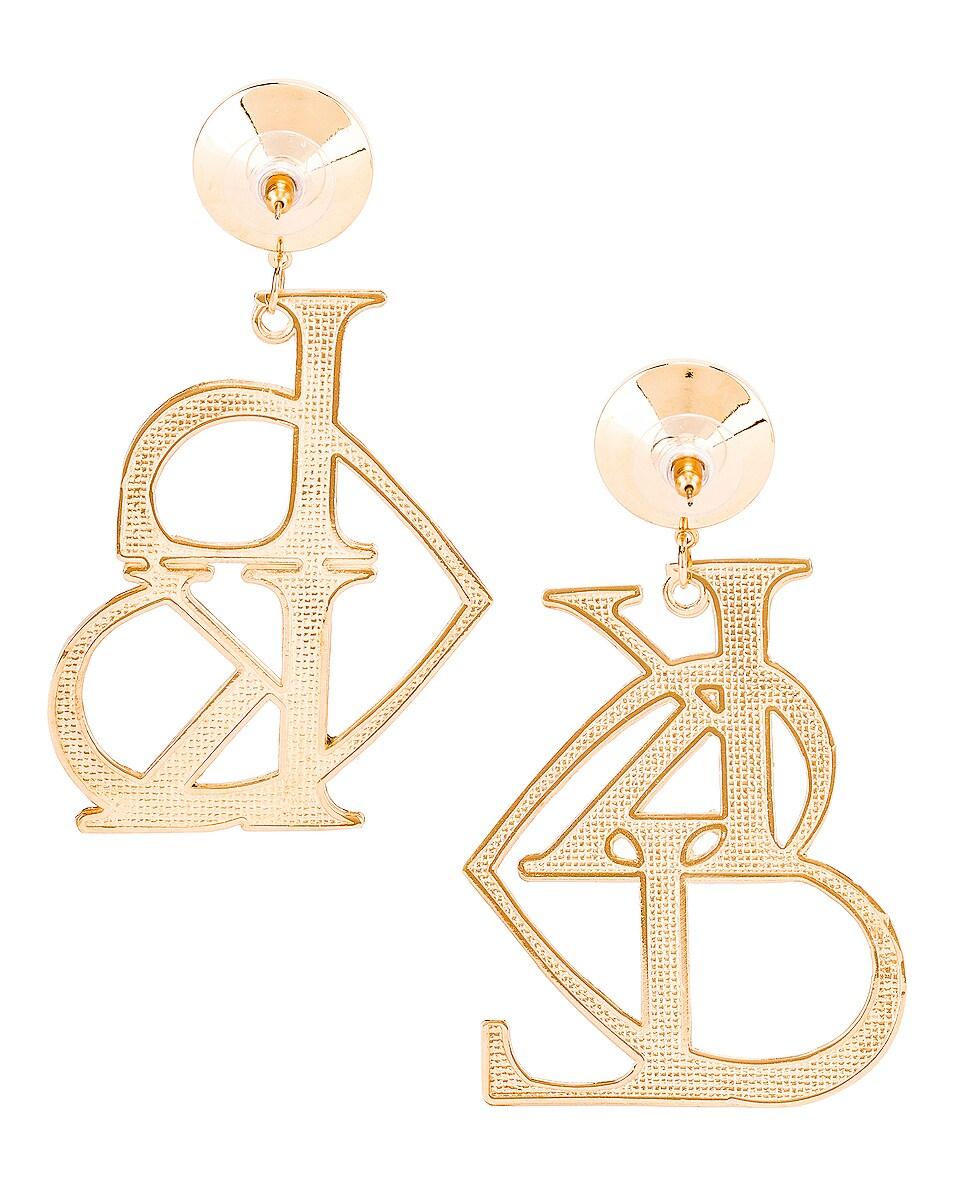 Image 4 of Rodarte K & L Heart Earrings in Gold & Clear