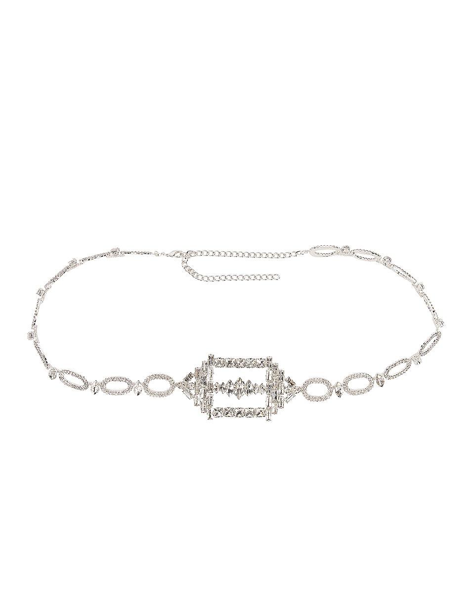 Image 1 of RAISA&VANESSA Hexagon Buckled Chain Belt in Silver