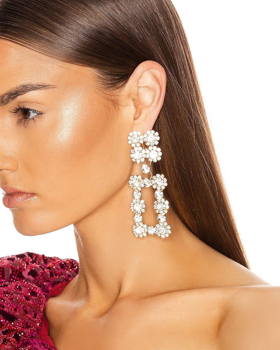 Image 2 of RAISA&VANESSA Rectangular Earrings in Gold Crystal & Gold