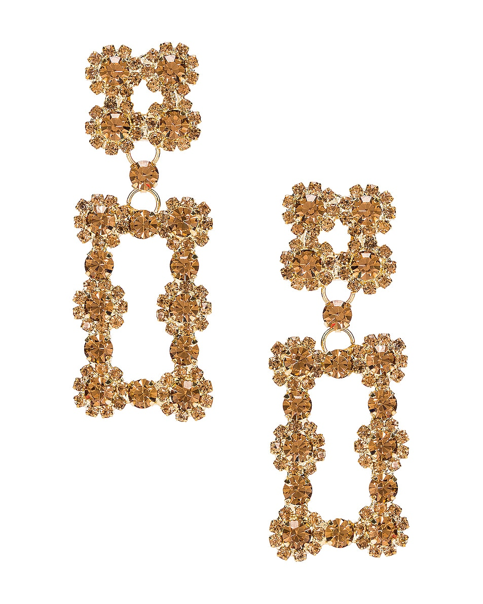 Image 1 of RAISA&VANESSA Rectangular Earrings in Gold
