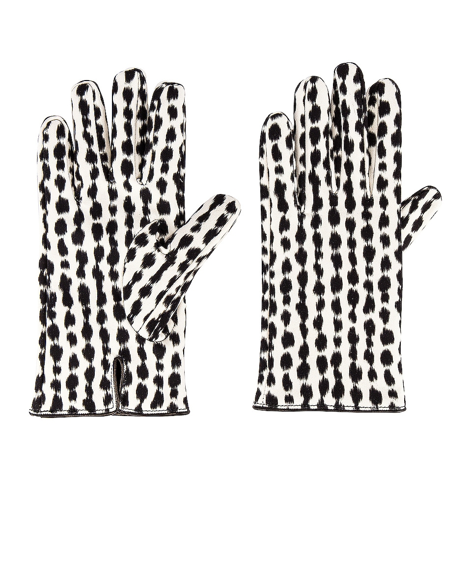 Image 1 of Raf Simons Animal Fabric Gloves in White & Black