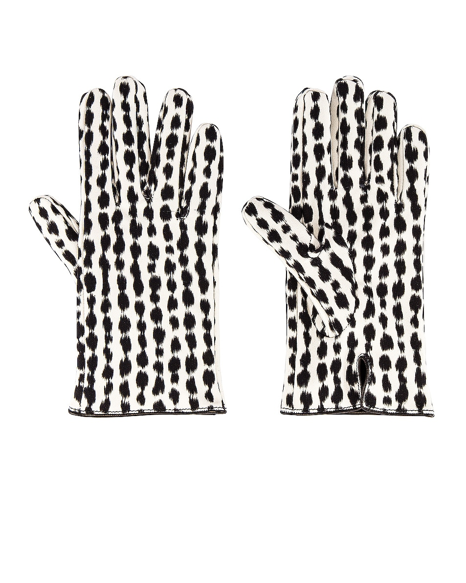 Image 3 of Raf Simons Animal Fabric Gloves in White & Black