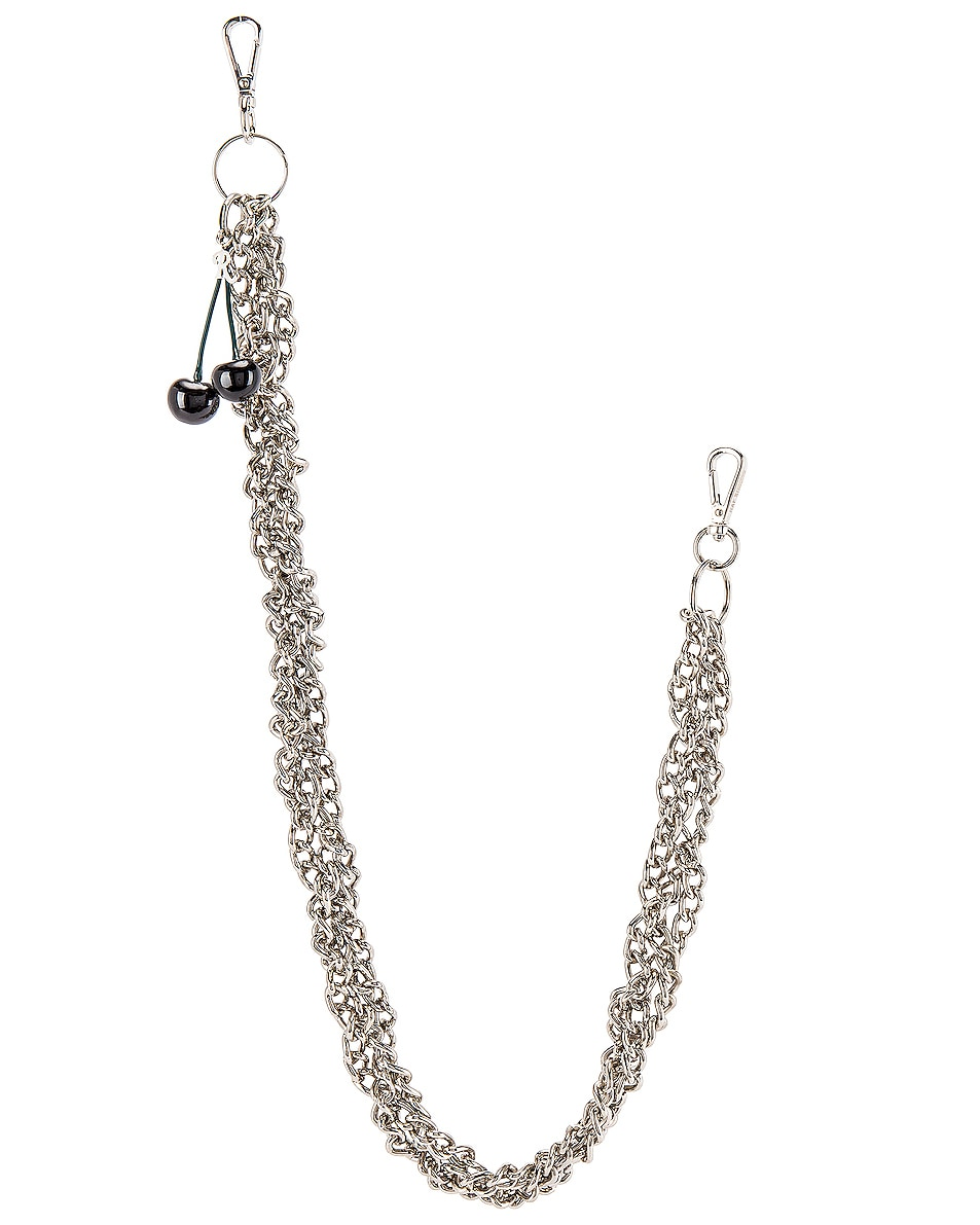 Image 1 of Raf Simons Black Cherries Twisted Wallet Chain in Silver
