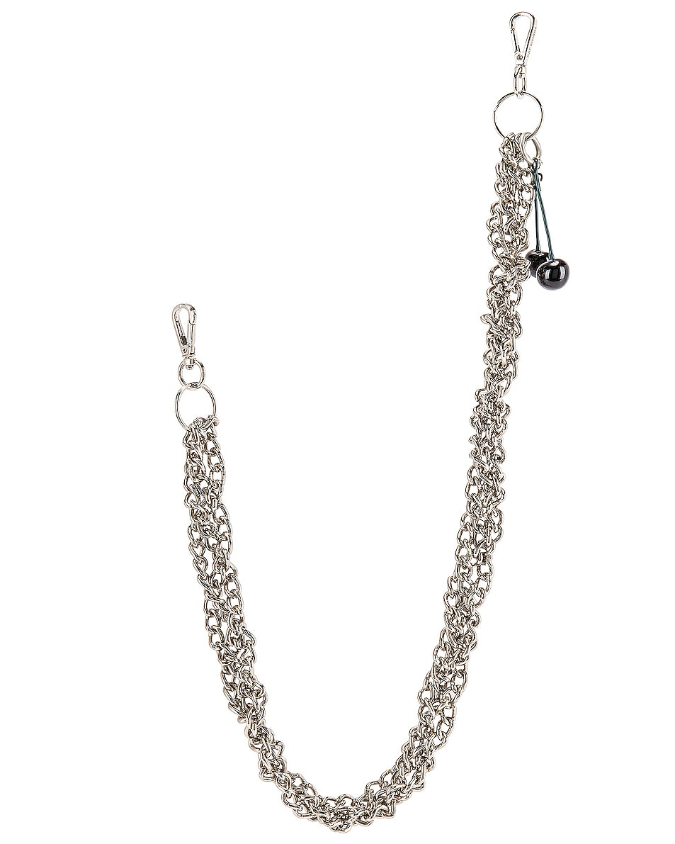 Image 3 of Raf Simons Black Cherries Twisted Wallet Chain in Silver