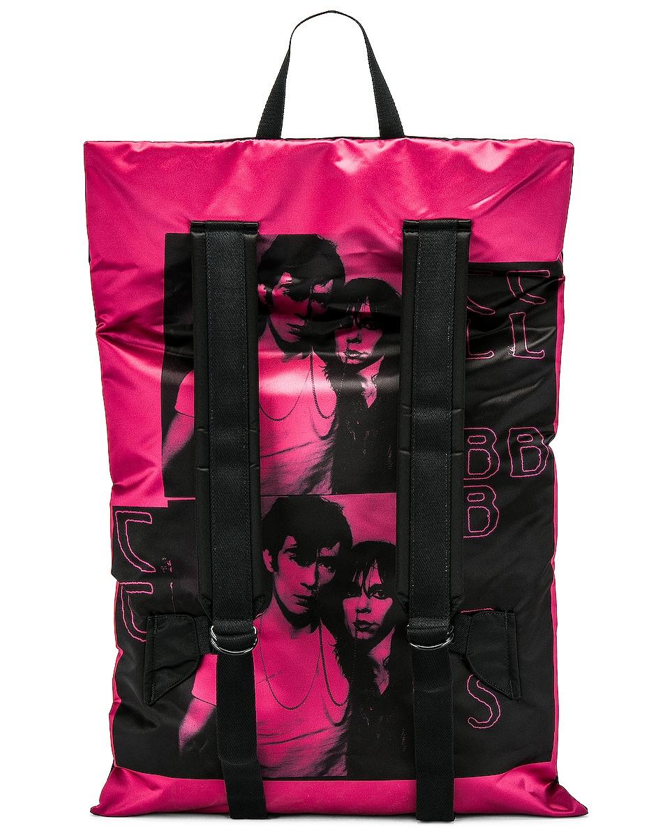 Image 4 of Raf Simons Eastpak Poster Backpack in Black & Fuchsia