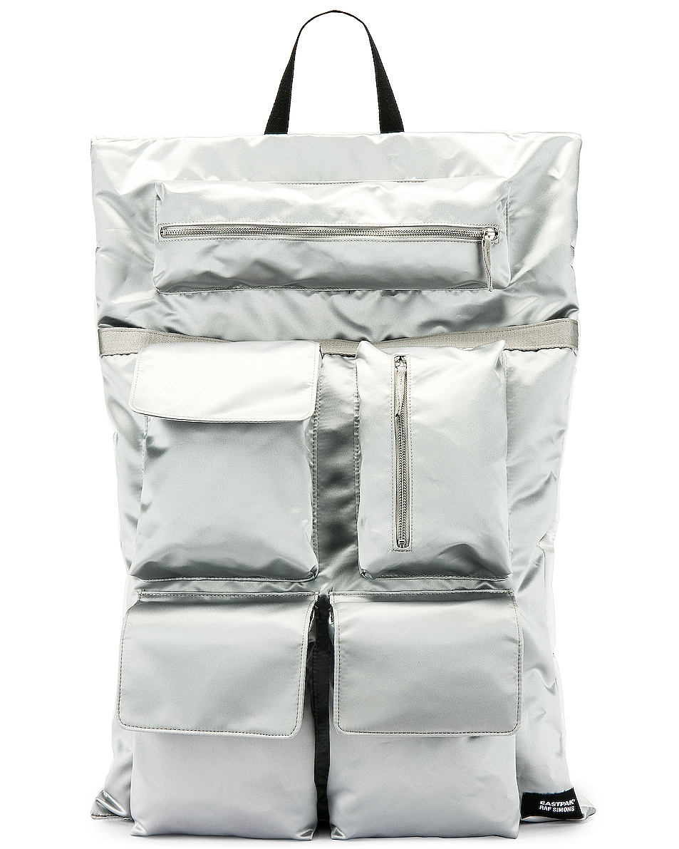 Image 1 of Raf Simons Eastpak Poster Backpack in Silver