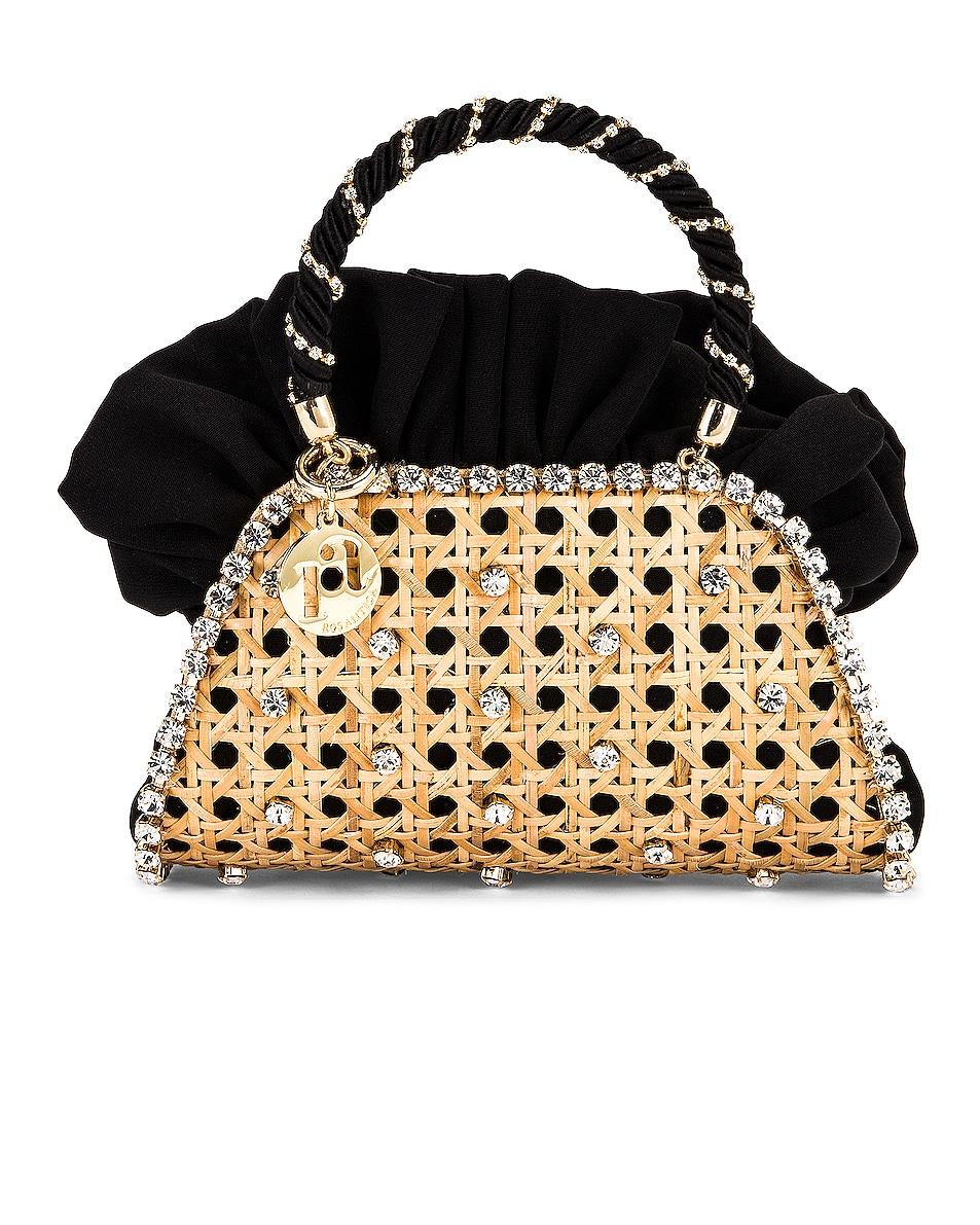 Image 1 of Rosantica Crepes Mini Bag in Wicker & Black