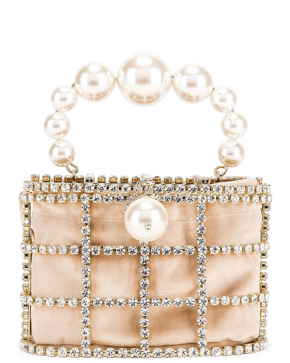 Image 1 of Rosantica Holli Bag in Brass & Clear Crystals