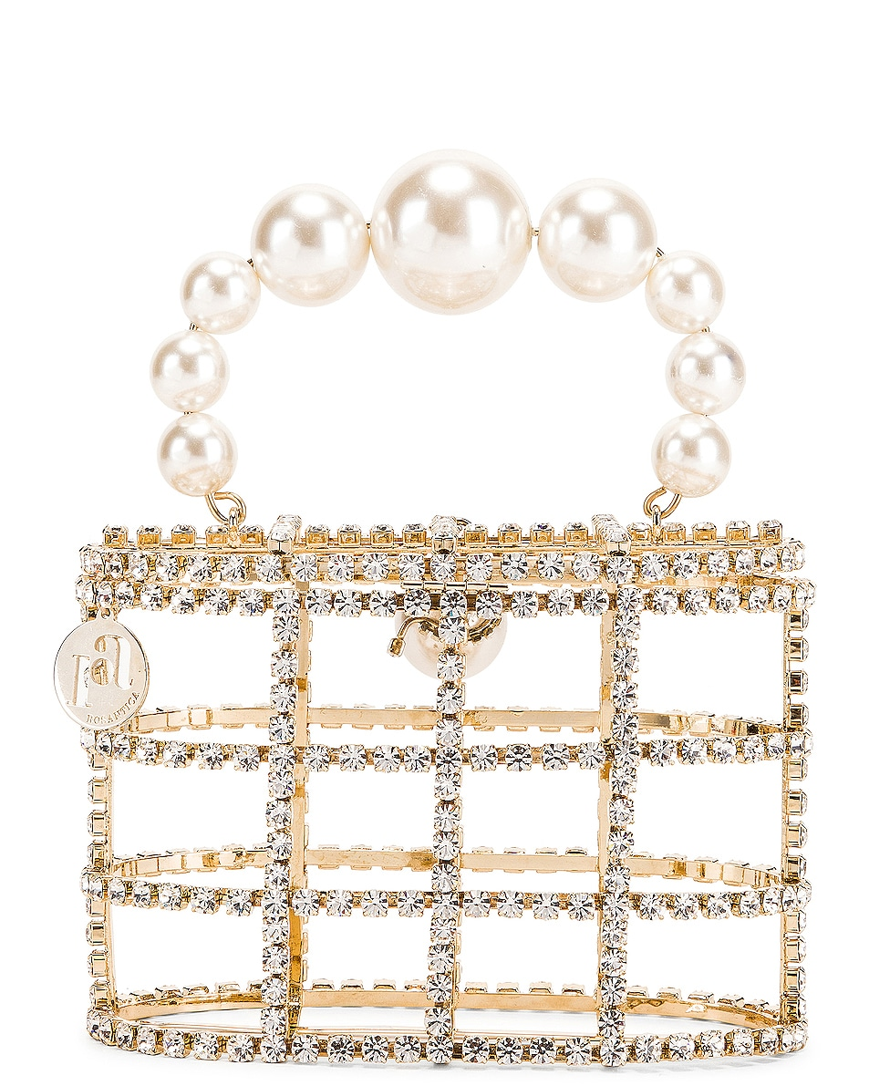 Image 4 of Rosantica Holli Bag in Brass & Clear Crystals
