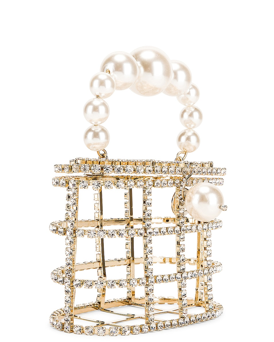 Image 5 of Rosantica Holli Bag in Brass & Clear Crystals