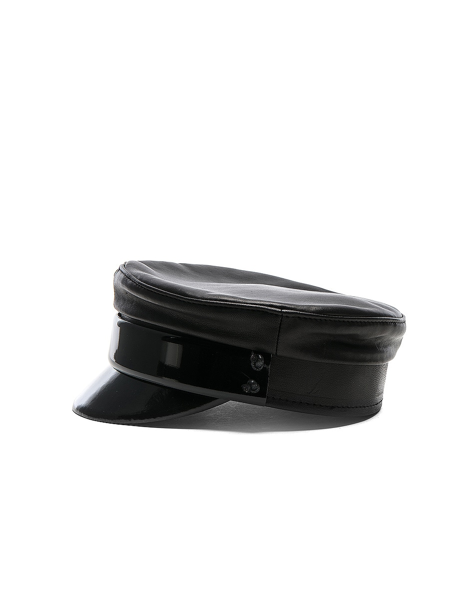Image 3 of Ruslan Baginskiy Leather Baker Boy Cap in Black
