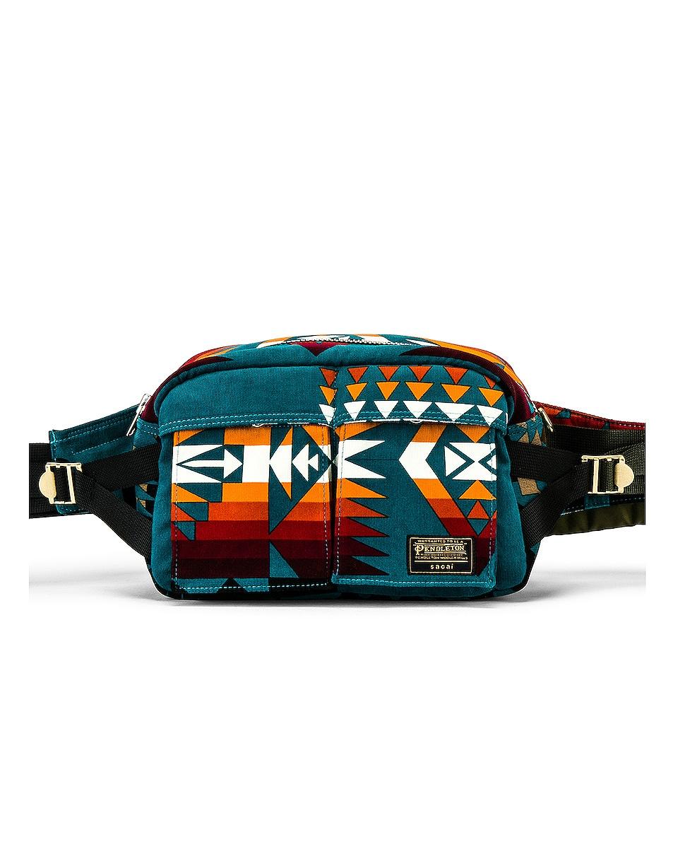 Image 1 of Sacai Pendleton Fanny Pack in Turquoise & Khaki