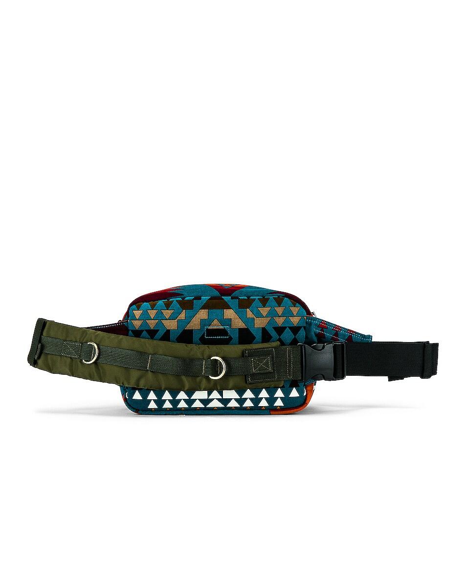 Image 2 of Sacai Pendleton Fanny Pack in Turquoise & Khaki