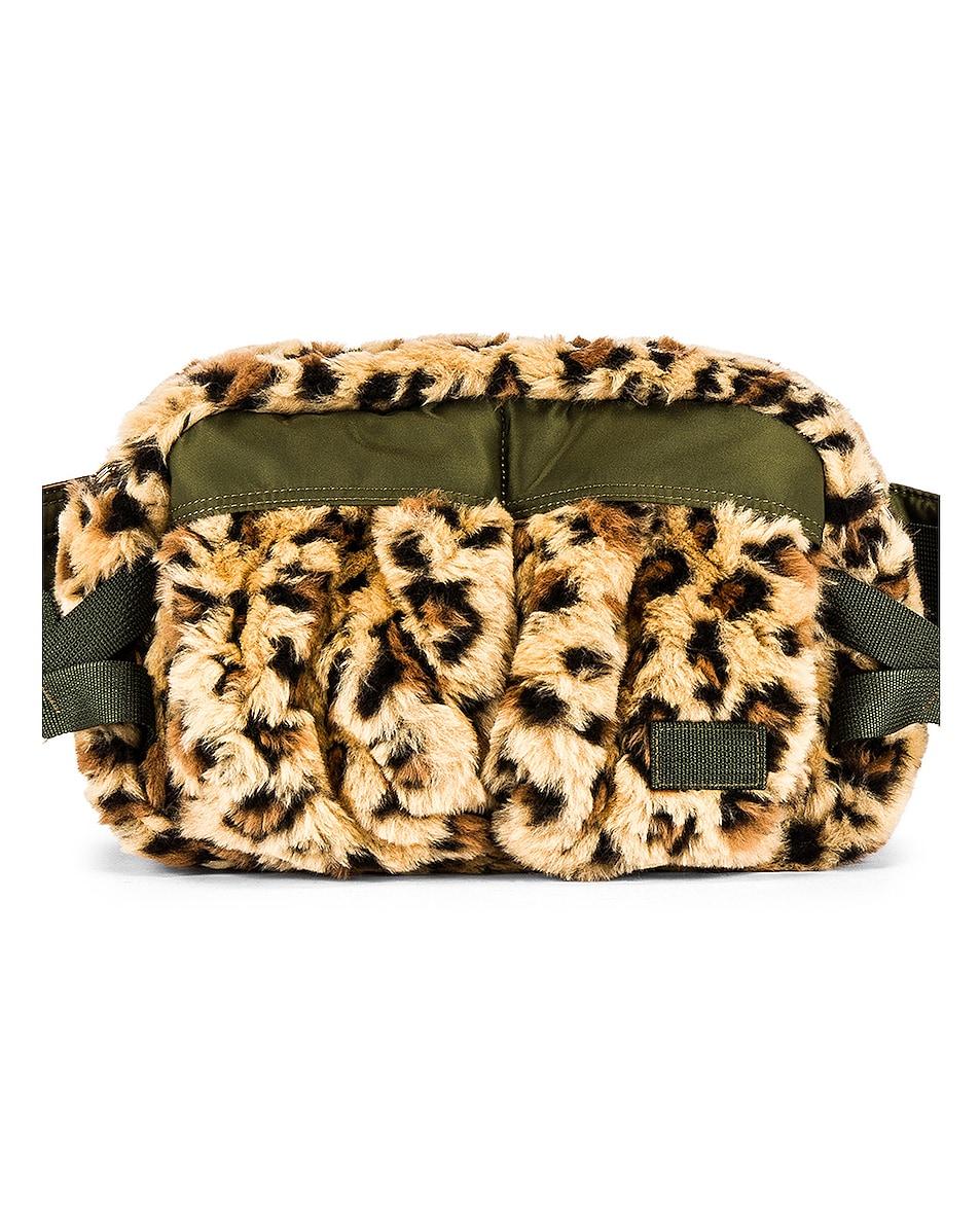 Image 1 of Sacai Leopard Faux Fur Waist Bag in Beige