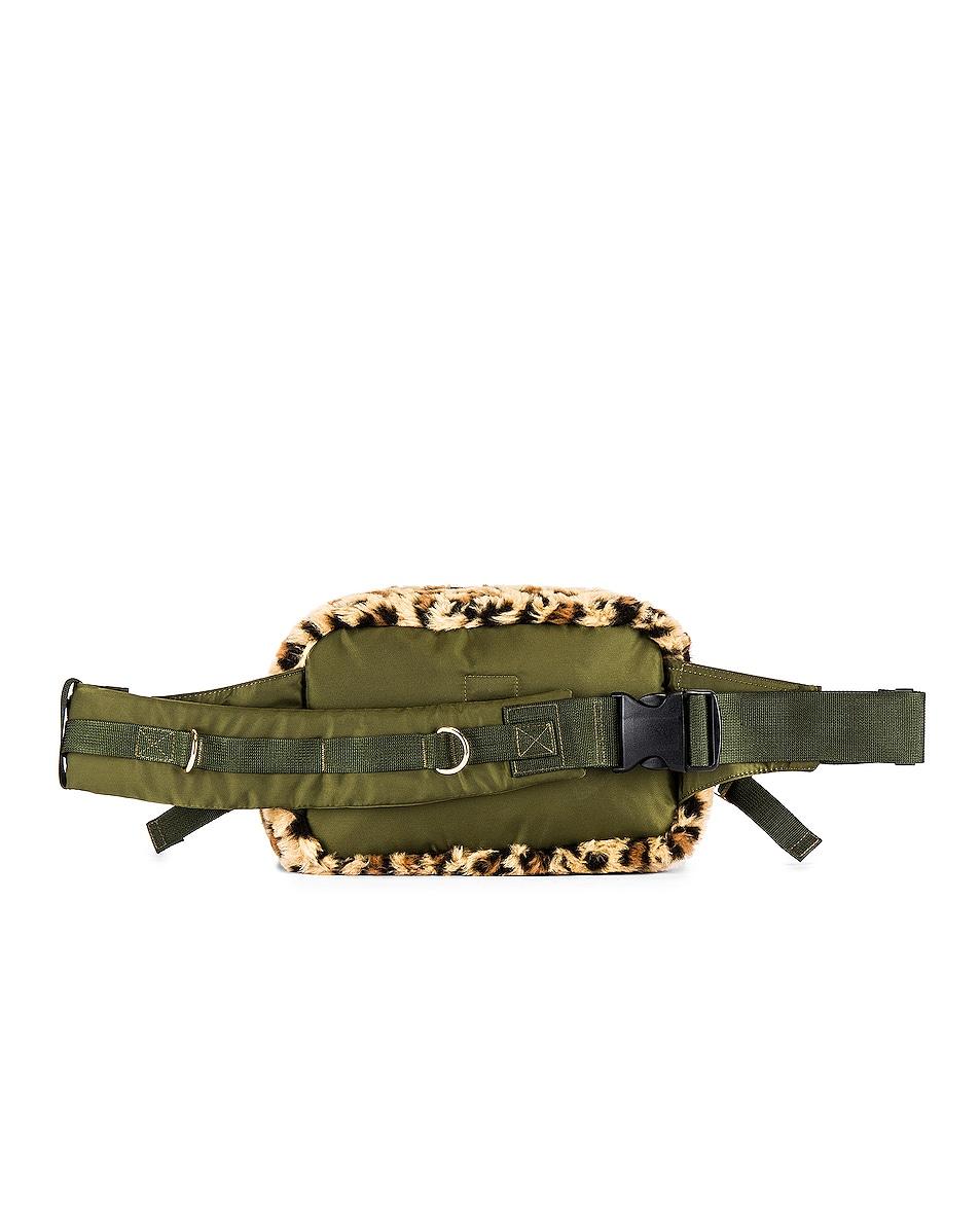 Image 2 of Sacai Leopard Faux Fur Waist Bag in Beige