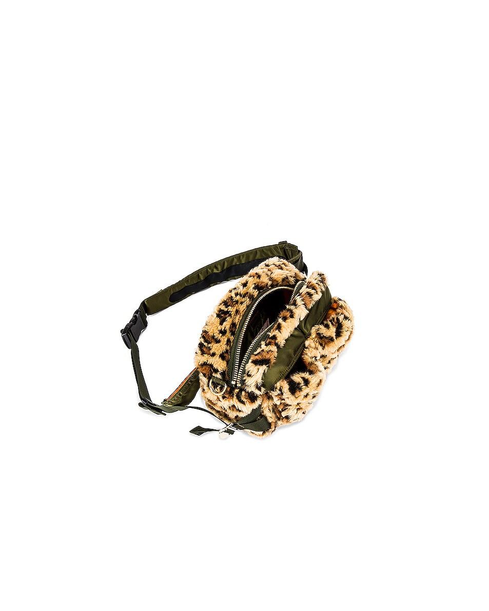 Image 4 of Sacai Leopard Faux Fur Waist Bag in Beige