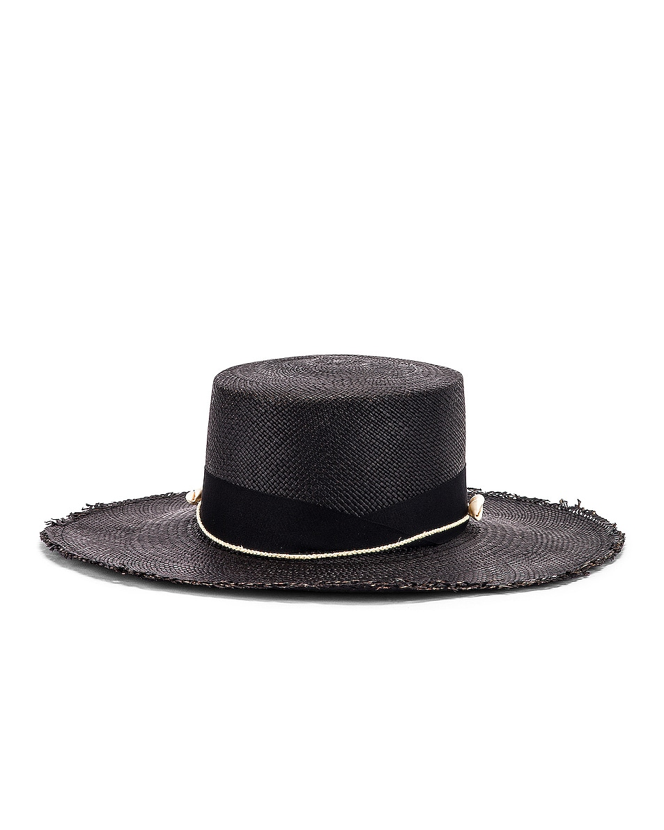Image 2 of SENSI STUDIO Cordovez Hat With Straw & Seashell Detail in Black
