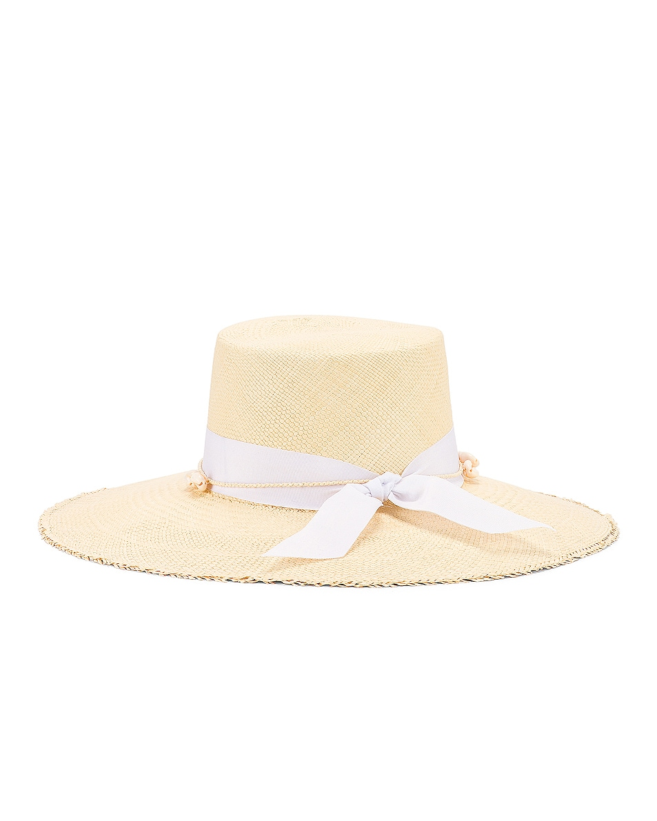 Image 4 of SENSI STUDIO Cordovez Hat With Straw & Seashell Detail in Natural
