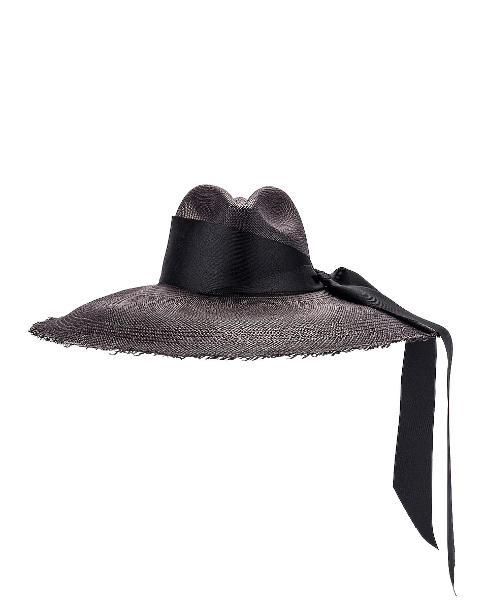 Image 1 of SENSI STUDIO Panama Hat With Maxi Bow in Black in Black