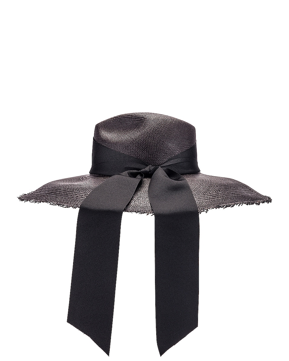 Image 3 of SENSI STUDIO Panama Hat With Maxi Bow in Black in Black