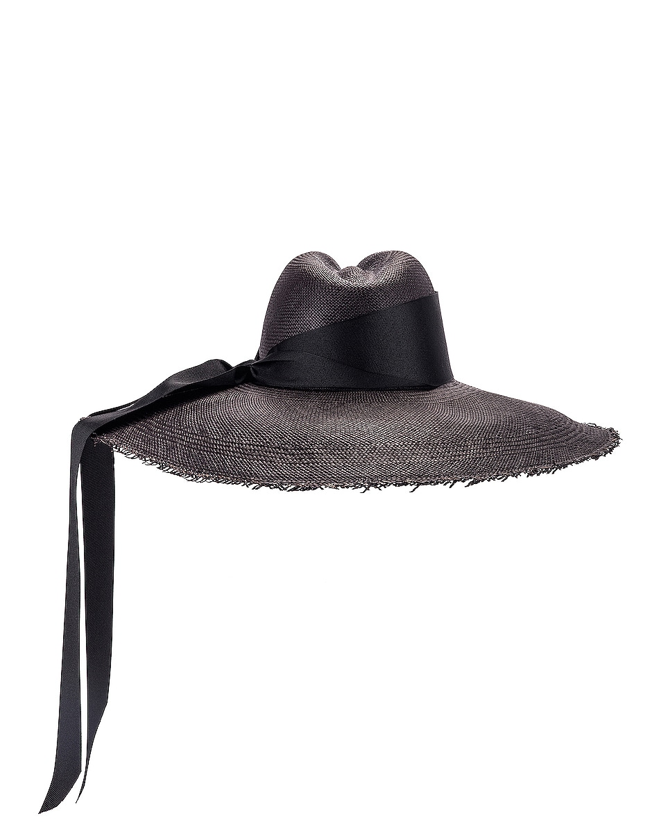 Image 4 of SENSI STUDIO Panama Hat With Maxi Bow in Black in Black