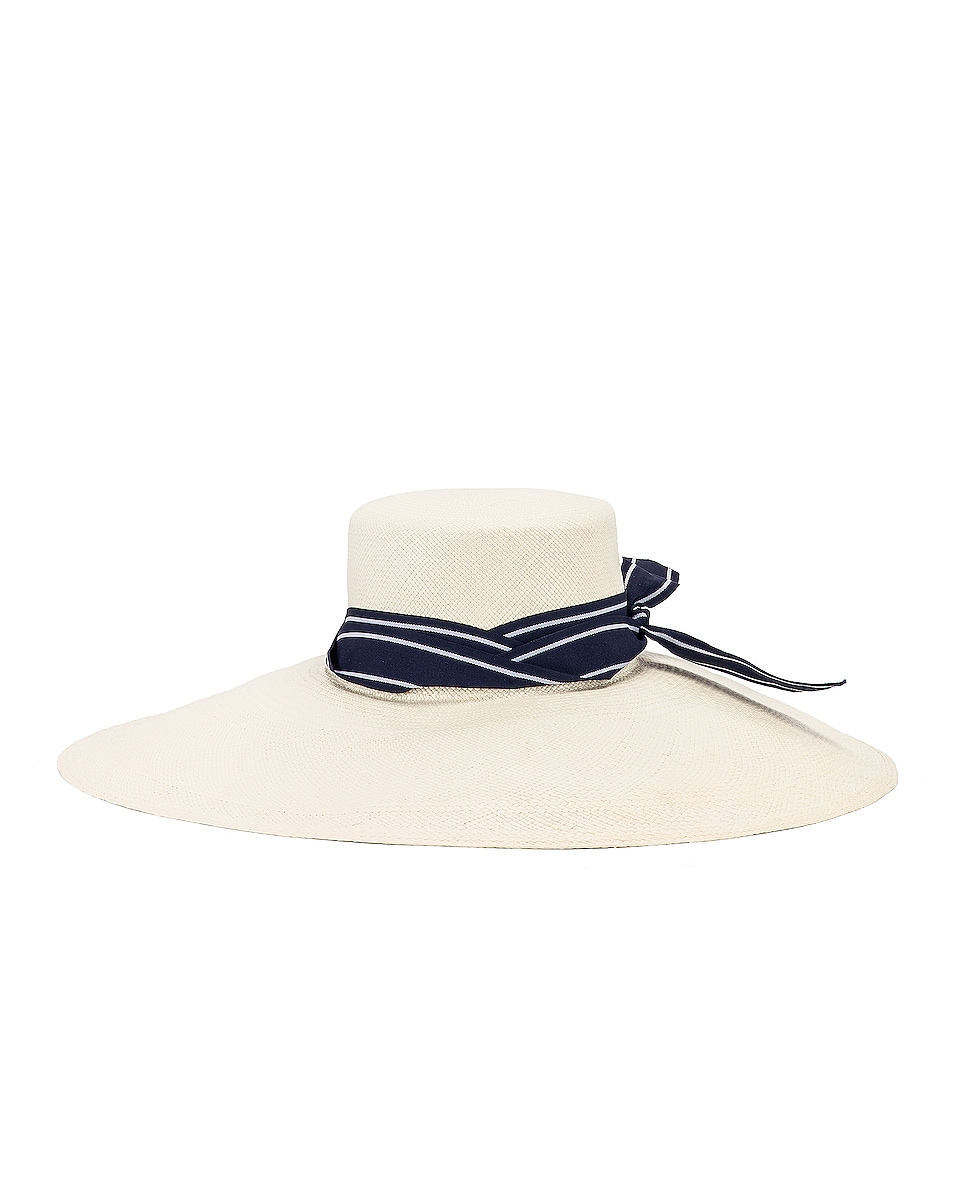 Image 1 of SENSI STUDIO Long Brim Lamp Shape Cordovez Hat in White & Navy