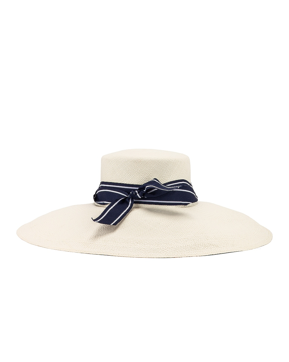 Image 3 of SENSI STUDIO Long Brim Lamp Shape Cordovez Hat in White & Navy