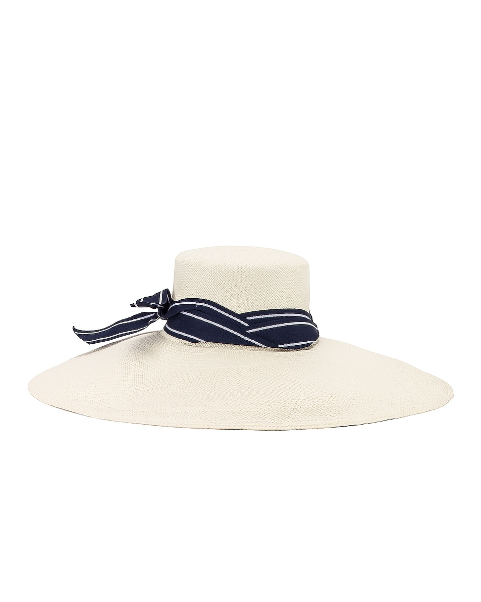 Image 4 of SENSI STUDIO Long Brim Lamp Shape Cordovez Hat in White & Navy