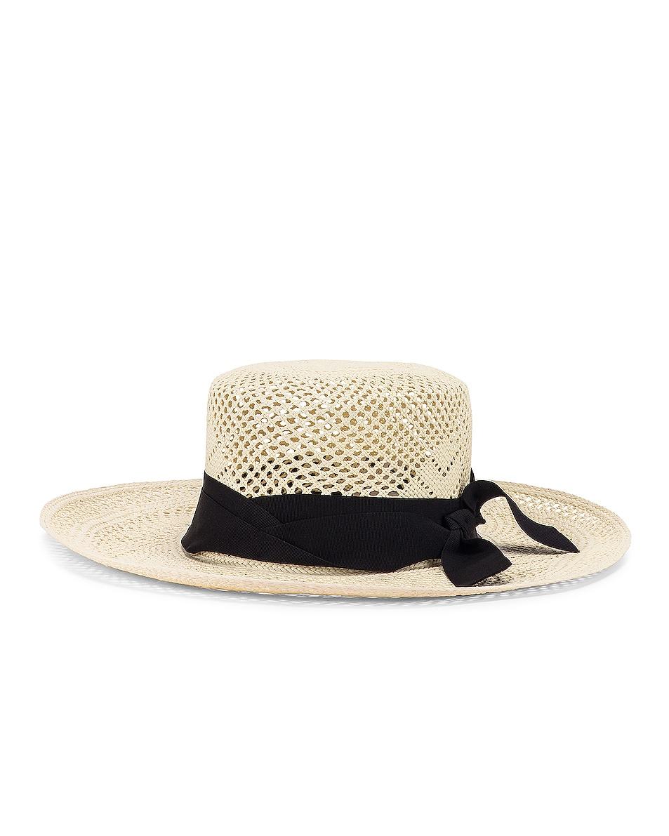 Image 2 of SENSI STUDIO Calado Boater Hat in White & Black