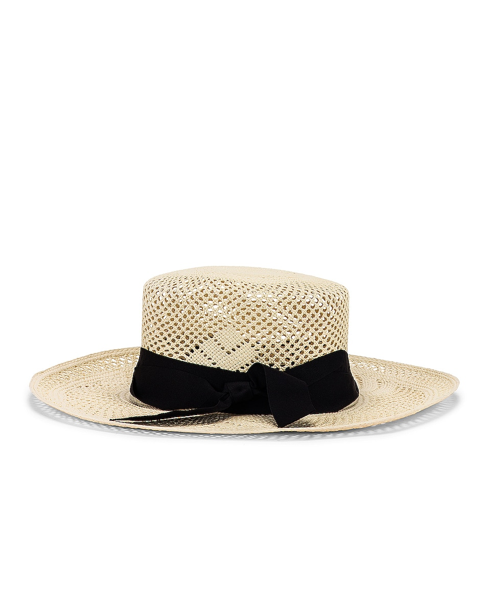 Image 3 of SENSI STUDIO Calado Boater Hat in White & Black