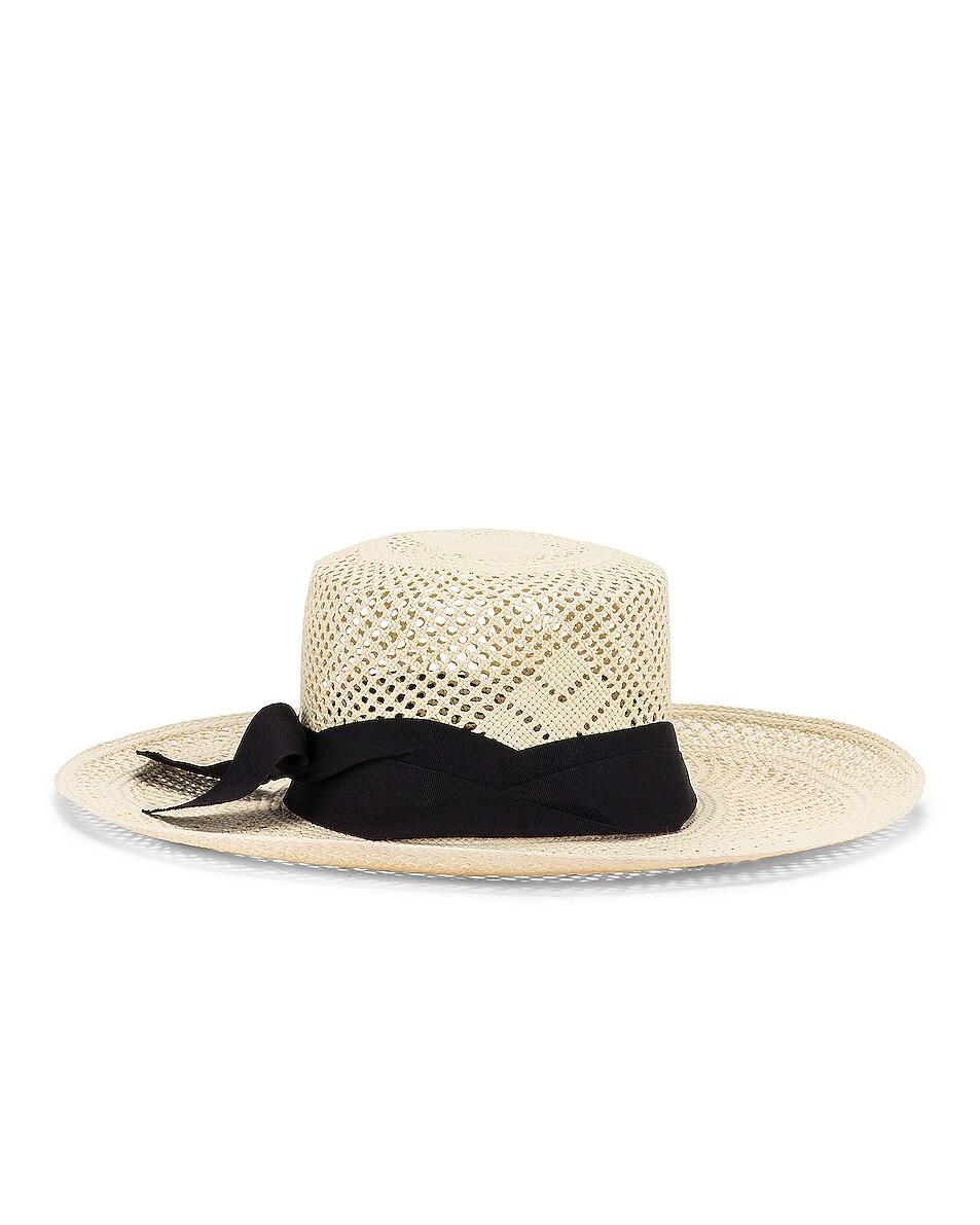 Image 4 of SENSI STUDIO Calado Boater Hat in White & Black