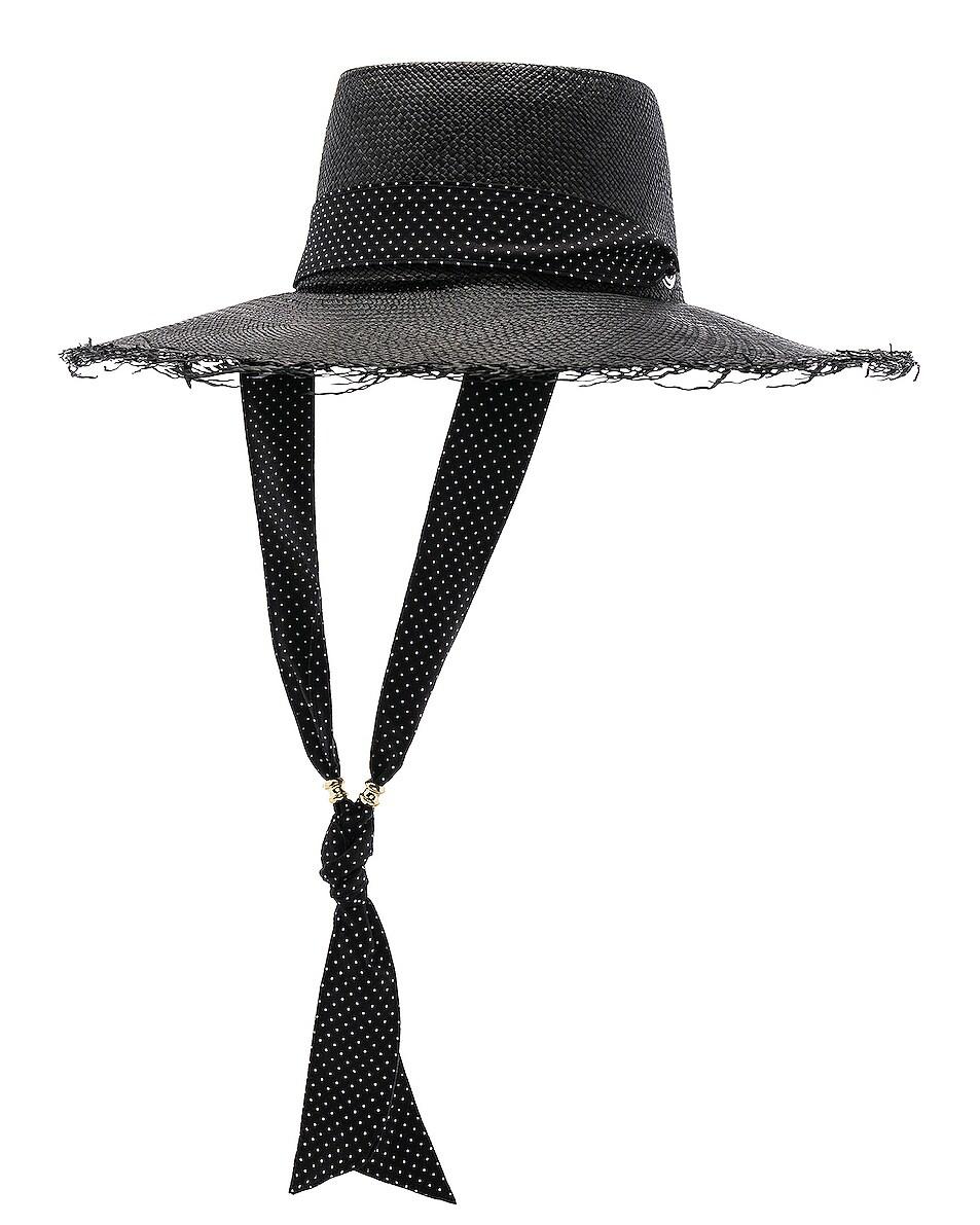 Image 2 of SENSI STUDIO Long Brim Boater Hat with Frayed Brim in Black & Polka Dots