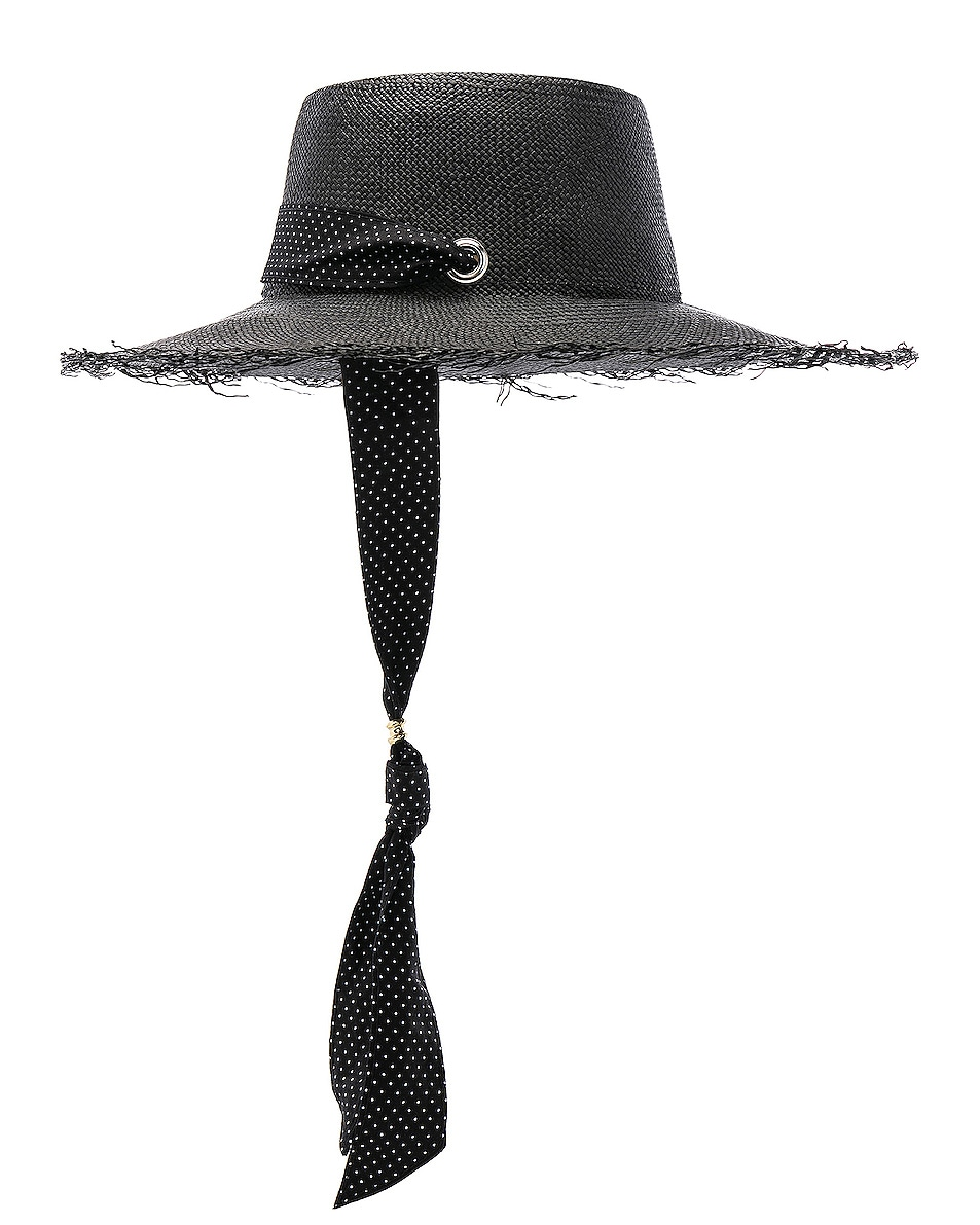 Image 3 of SENSI STUDIO Long Brim Boater Hat with Frayed Brim in Black & Polka Dots