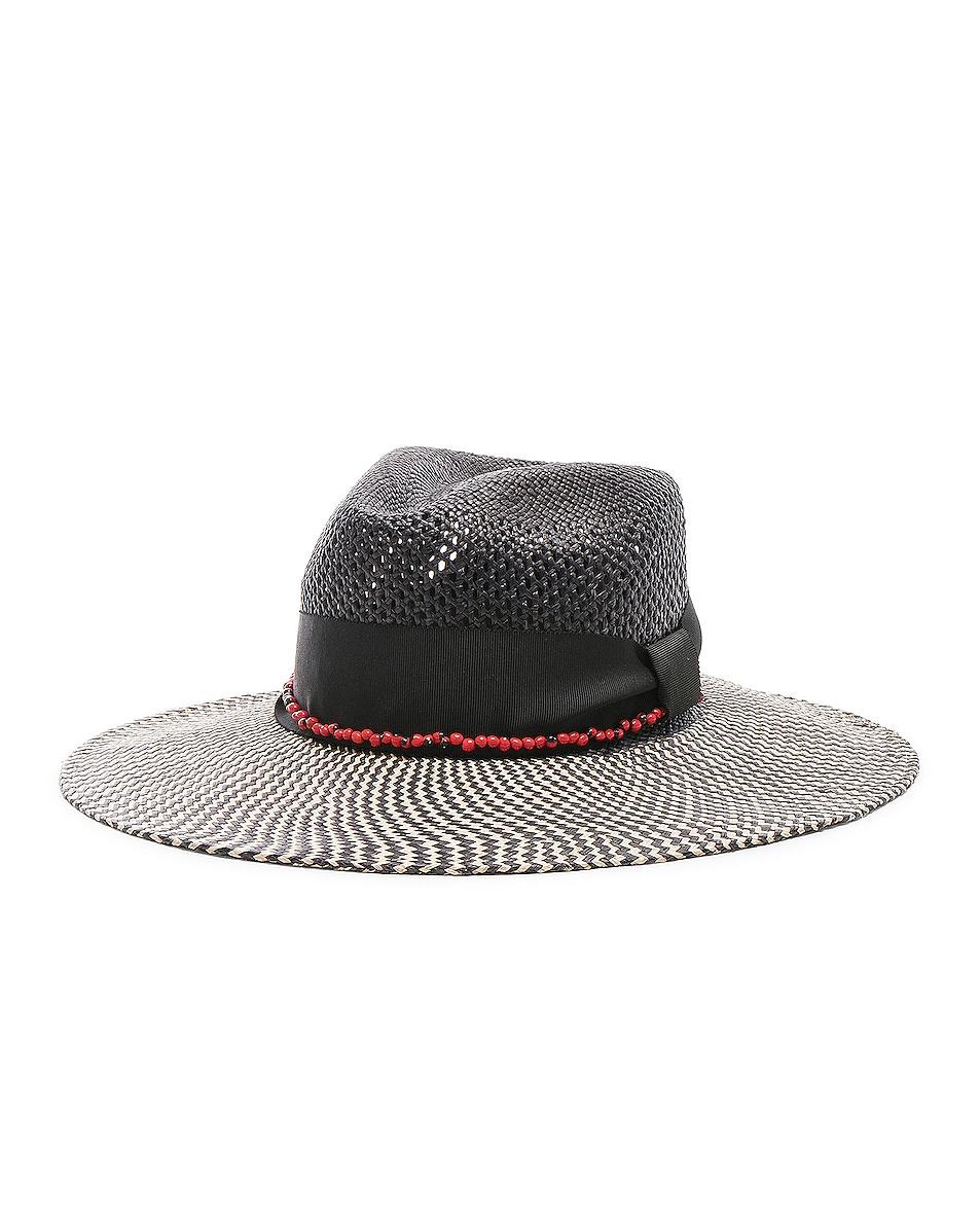 Image 2 of SENSI STUDIO Calado Two Tone Brim Hat in Black