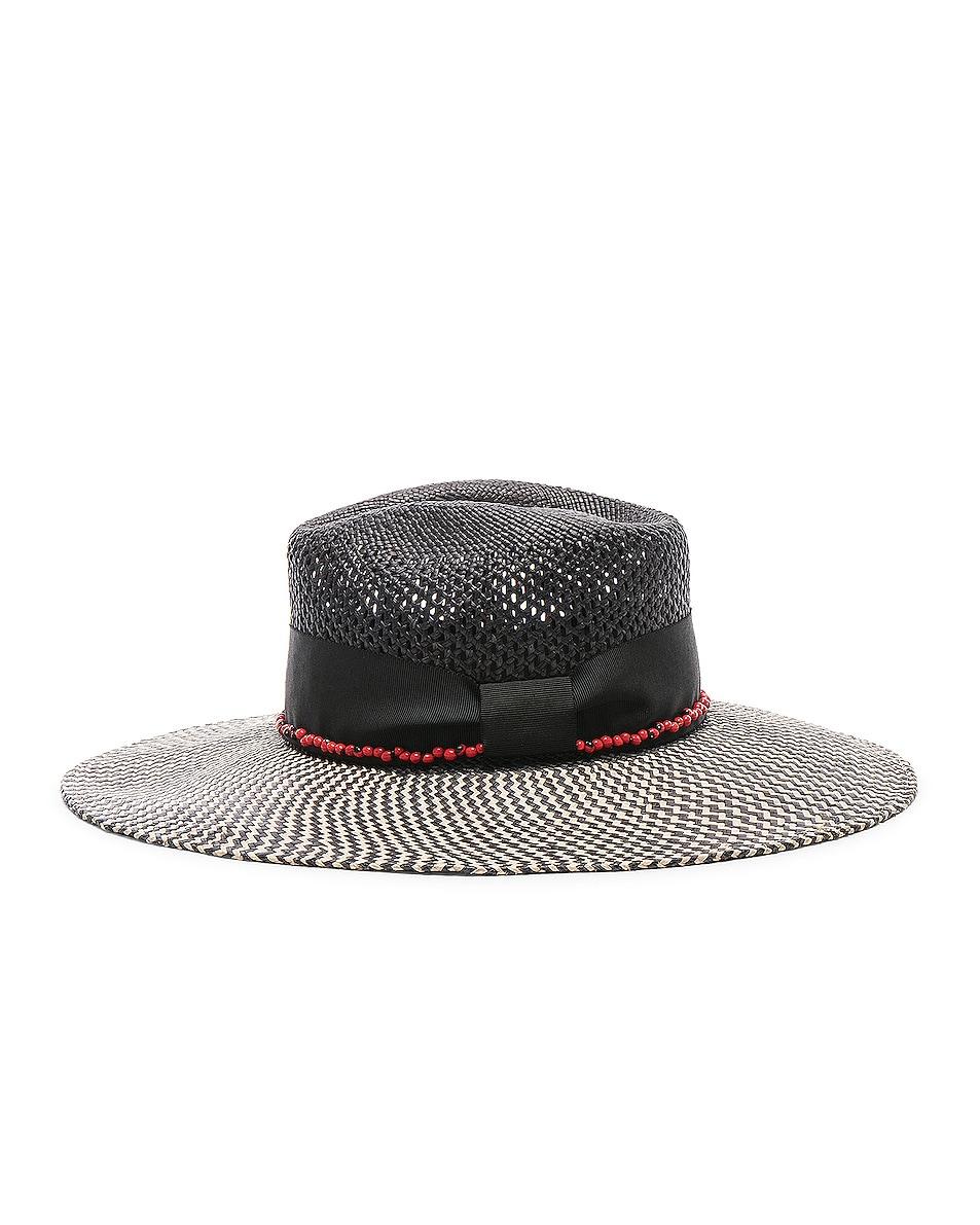 Image 3 of SENSI STUDIO Calado Two Tone Brim Hat in Black