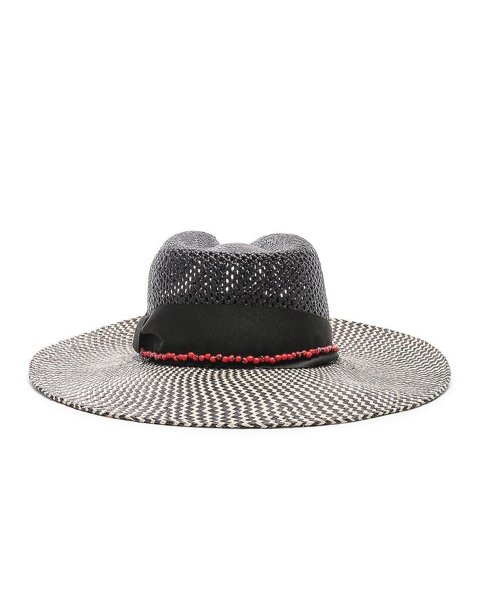 Image 4 of SENSI STUDIO Calado Two Tone Brim Hat in Black