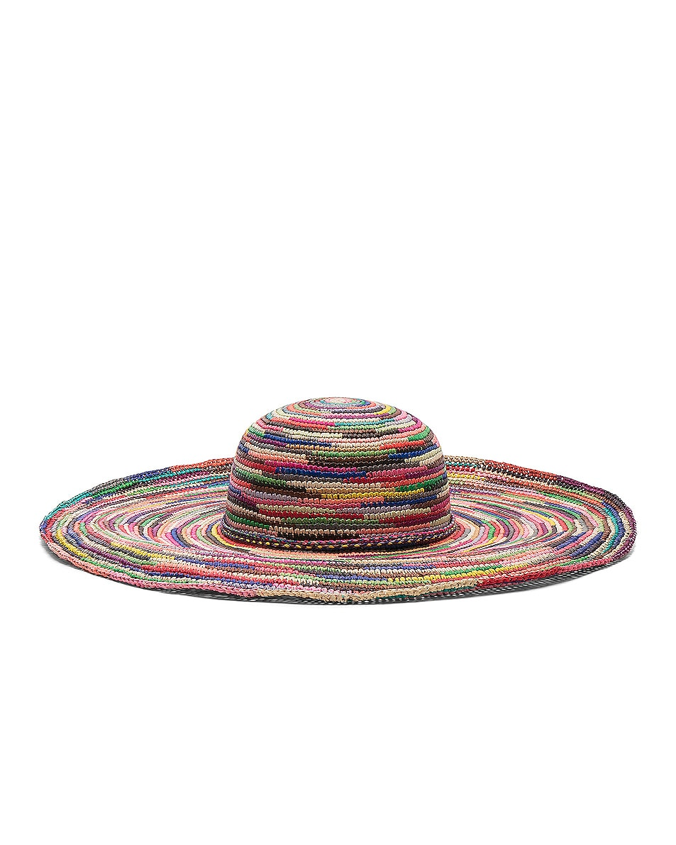 Image 1 of SENSI STUDIO Long Brim Lady Crochet Hat in Multi