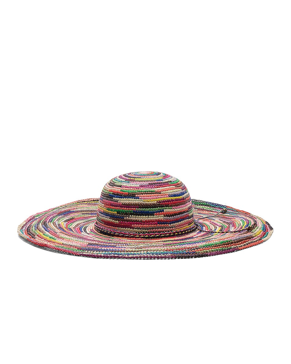Image 3 of SENSI STUDIO Long Brim Lady Crochet Hat in Multi