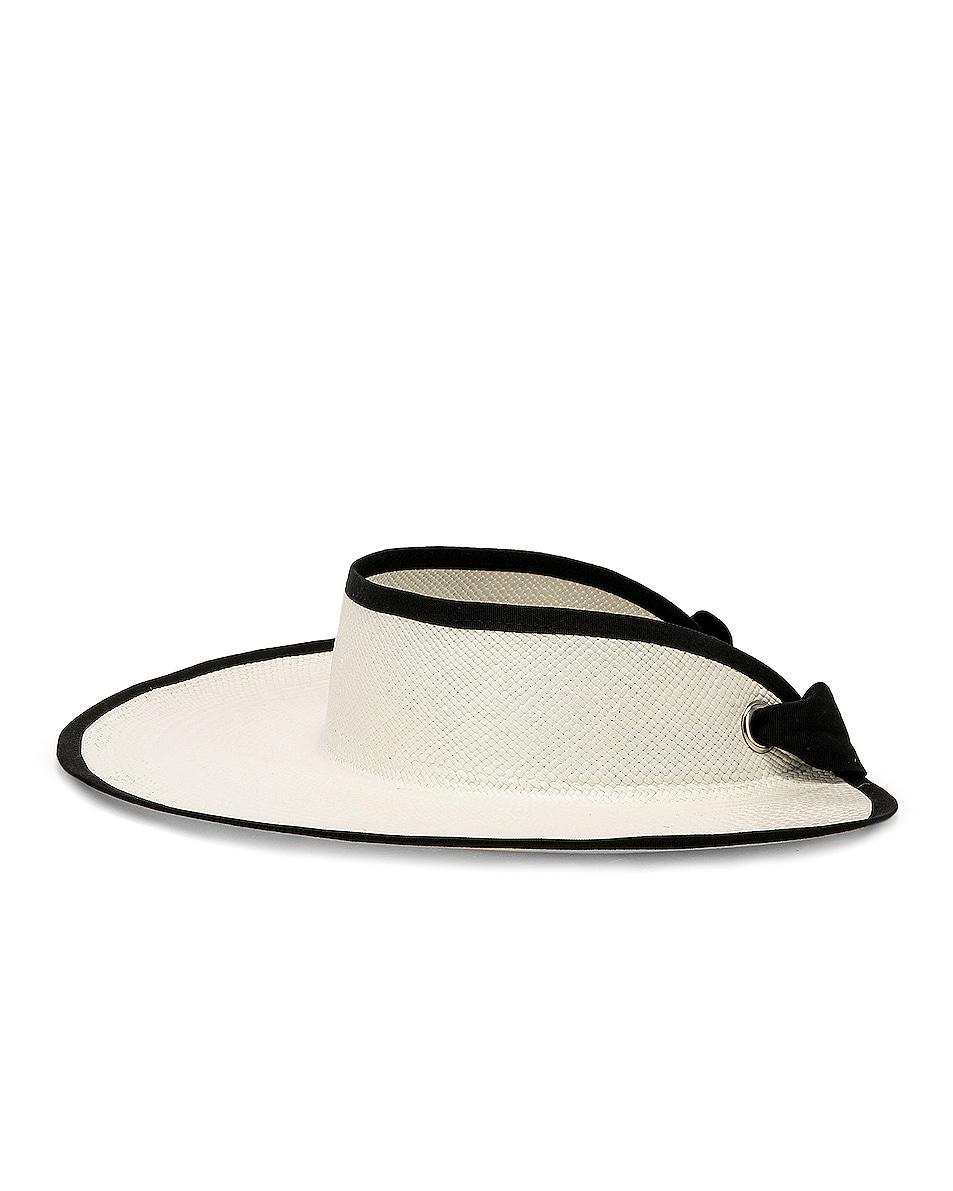 Image 3 of SENSI STUDIO Long Brim Visor in White & Black