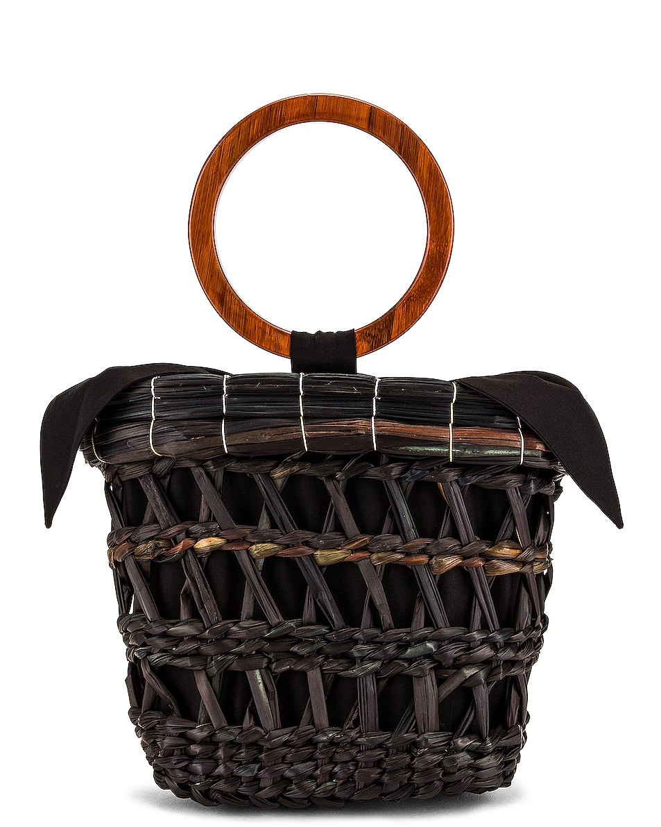 Image 1 of SENSI STUDIO Totora Straw Basket With Polished Bamboo Handle Bag in Unique