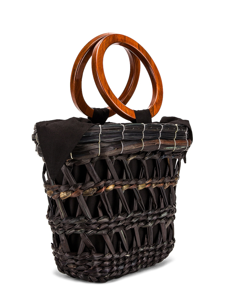 Image 4 of SENSI STUDIO Totora Straw Basket With Polished Bamboo Handle Bag in Unique