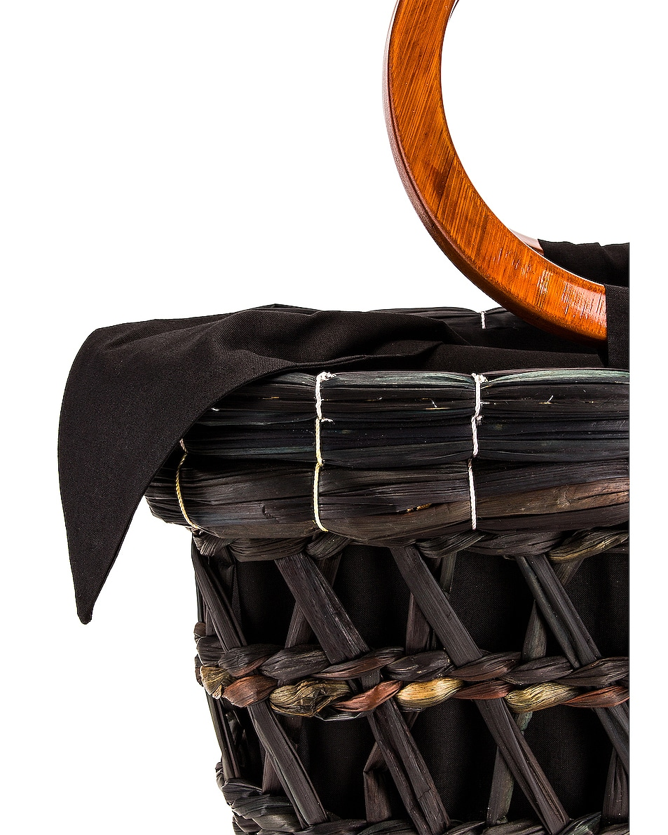 Image 7 of SENSI STUDIO Totora Straw Basket With Polished Bamboo Handle Bag in Unique