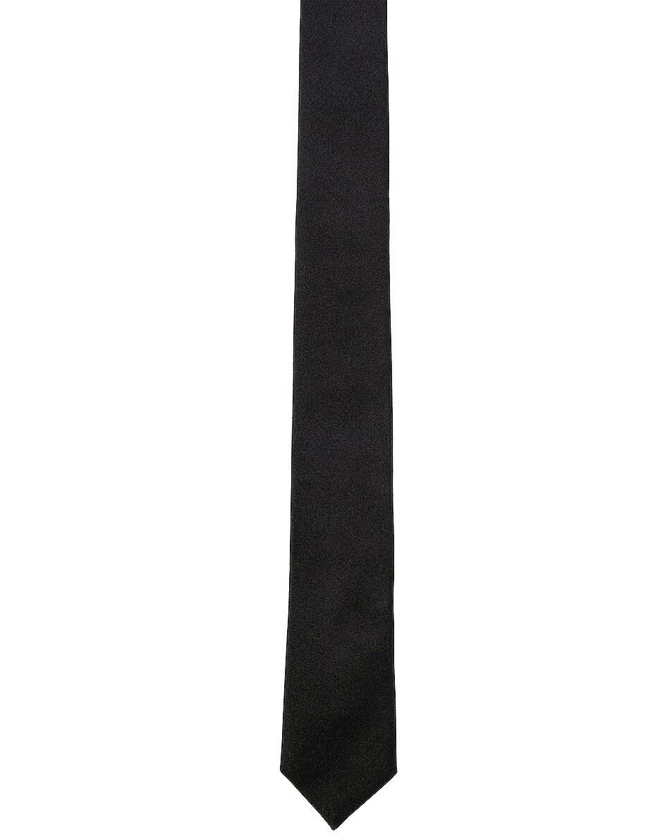 Image 1 of Saint Laurent Satin Tie in Black